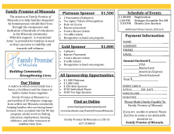 Family Promise of Missoula Platinum Sponsor $1,500 Schedule of