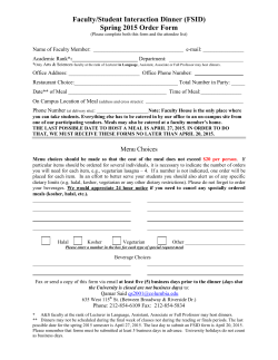 Faculty/Student Interaction Dinner (FSID) Spring 2015 Order Form