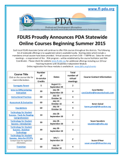 FDLRS Proudly Announces PDA Statewide Online Courses