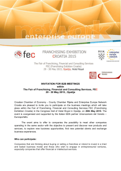 INVITATION FOR B2B MEETINGS within The Fair of Franchising