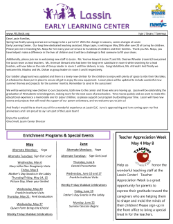 Newsletter - Federation Early Learning Services