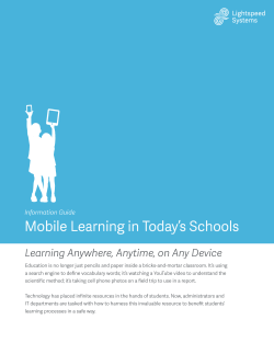 Mobile Learning in Today`s Schools