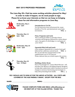 The Lions Bay 55+ Club has some exciting activities planned for