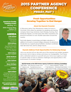 2015 partner agency conference - Second Harvest Foodbank of