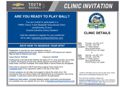 ARE YOU READY TO PLAY BALL? CLINIC DETAILS