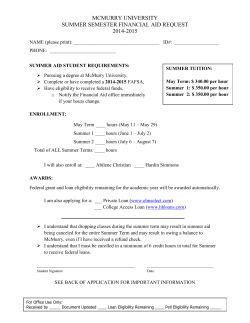 14-15 Summer Aid Application - Financial Aid