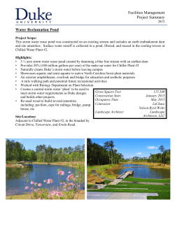 Facilities Management Project Summary Water Reclamation Pond