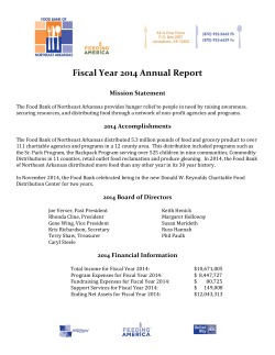 Fiscal Year 2014 Annual Report - Food Bank of Northeast Arkansas