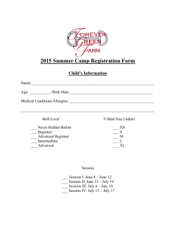 2015 Summer Camp Registration Form