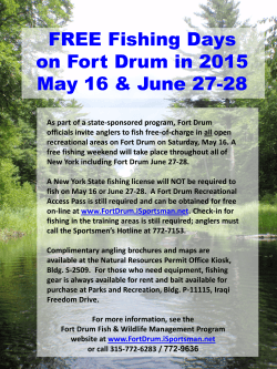 FREE Fishing Days on Fort Drum in 2015 May 16 & June 27-28