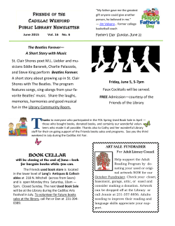 FOL Newsletter June 2015 - Cadillac Wexford Public Library