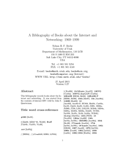 A Bibliography of Books about the Internet and