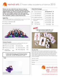 FVAD Photo Day 2015 Order Form - Fraser Valley Academy of Dance