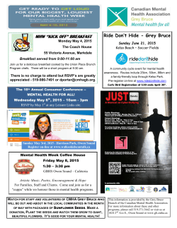 2015 calendar of events - CMHA Grey Bruce