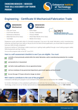 Certificate III Engineering (Mechanical or Fabrication)