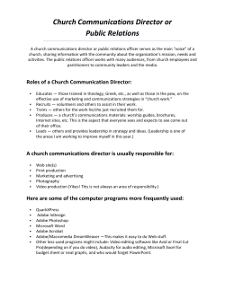 Church Communications Director or Public Relations