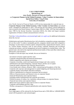 CALL FOR PAPERS Special Issue of Asia–Pacific