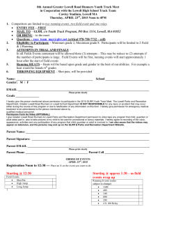 Youth Meet Application - Greater Lowell Road Runners