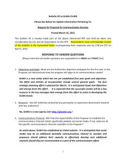 "Bulletin #2 for RFP-DE-GLWA-CS-005 ""Communications Services"