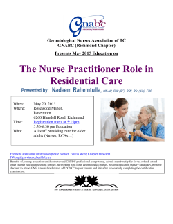 The Nurse Practitioner Role in Residential Care