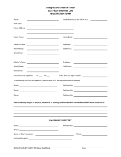 Extended Care Registration Form