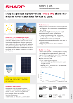 Sharp is a pioneer in photovoltaics /This is Why Sharp - go