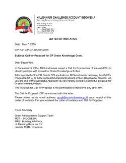 LETTER OF INVITATION Date : May 7, 2015 CfP Ref: CfP.GP
