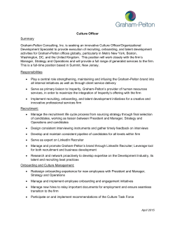Culture Officer Summary Graham-Pelton Consulting, Inc. is seeking