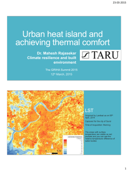 Urban heat island and achieving thermal comfort