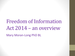 Freedom of Information Act 2014 – an overview