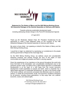The Sisters of Mercy and NGO Mining Working Group