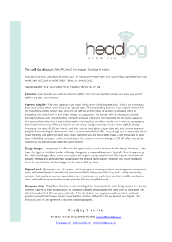Headjog Creative Terms & Conditions | Jake Richard, trading as