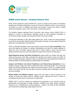 HNHB CCAC Nurses – Putting Patients First
