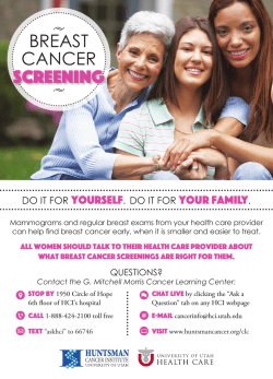 Breast Cancer Screening Card - University of Utah Health Care