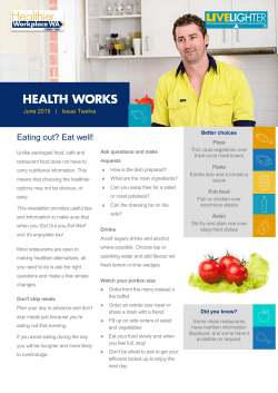 Eating out? Eat well! - Healthier Workplace WA