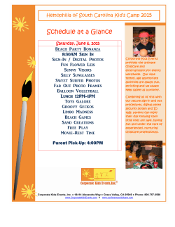 Schedule at a Glance - Hemophilia of South Carolina