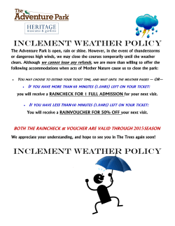 iNCLEMENT WEATHER POLICY iNCLEMENT WEATHER POLICY