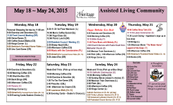 Assisted Living Community Tuesday, May 19