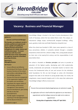 Vacancy: Business and Financial Manager