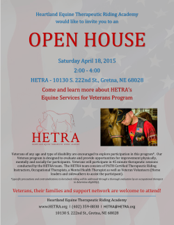 Saturday April 18, 2015 2:00 - 4:00 HETRA