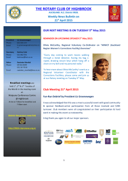 Highbrook Rotary Bulletin 21st April 2015