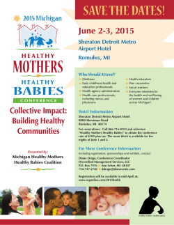 SAVE THE DATES! - Healthy Mothers, Healthy Babies Coalition of