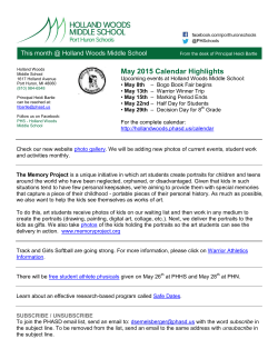 May 2015 Newsletter - Holland Woods Middle School