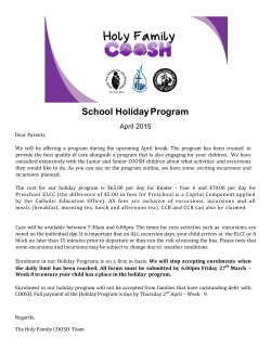 COOSH Term 1 Holiday Booking Form