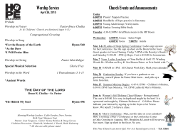 Worship Service Church Events and Announcements
