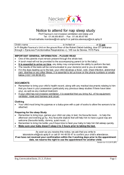 Notice to attend for nap sleep study