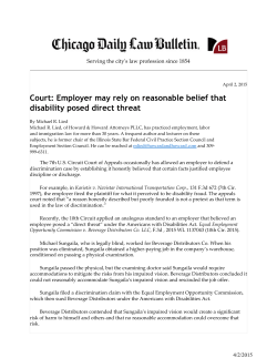 Court: Employer may rely on reasonable belief that disability posed