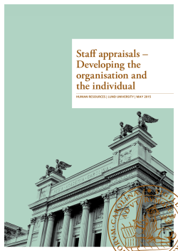 Staff appraisals – Developing the organisation and the - HR