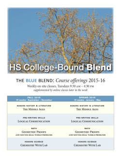 the blue blend: Course offerings 2015-16 - HS College