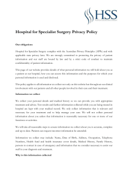 HSS Privacy Policy - HOSPITAL FOR SPECIALIST SURGERY
